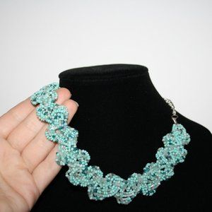 Vintagejelyfish Jewelry - Beaded necklace with pastel blue beads